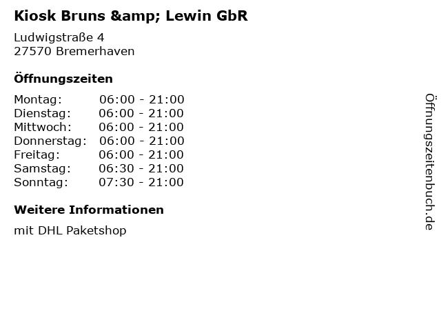Kiosk Bruns & Lewin GbR in Bremerhaven: Adresse und Öffnungszeiten