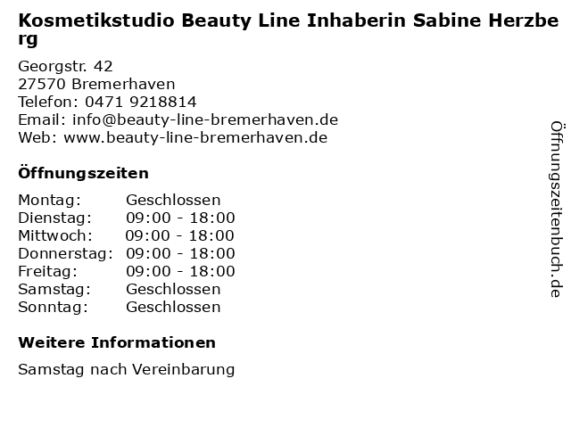 Kosmetikstudio Beauty Line Inhaberin Sabine Herzberg in Bremerhaven: Adresse und Öffnungszeiten