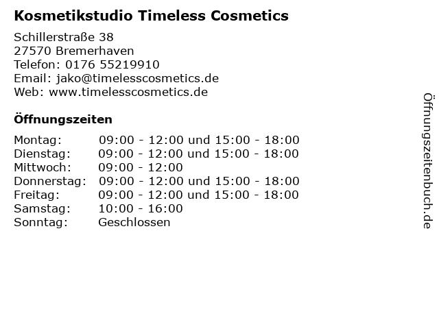 Kosmetikstudio Timeless Cosmetics Bremerhaven in Bremerhaven: Adresse und Öffnungszeiten