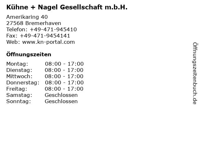 Kühne + Nagel Gesellschaft m.b.H. in Bremerhaven: Adresse und Öffnungszeiten