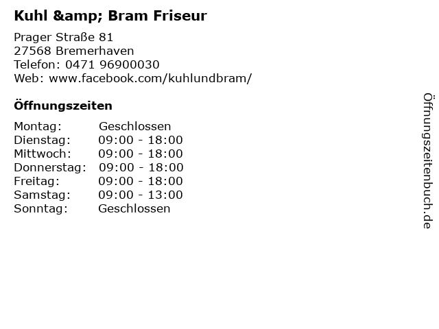 Kuhl & Bram Friseur in Bremerhaven: Adresse und Öffnungszeiten