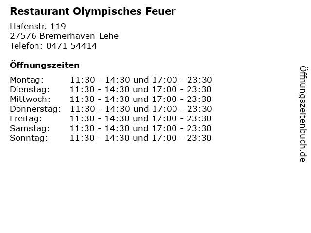 Restaurant Olympisches Feuer in Bremerhaven-Lehe: Adresse und Öffnungszeiten
