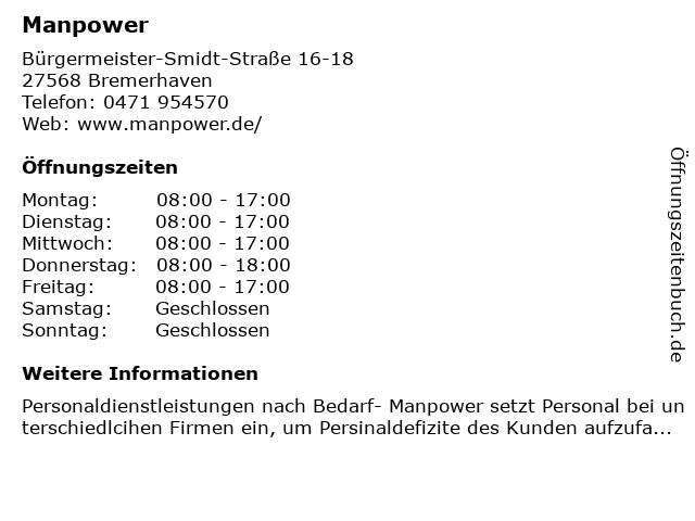 Manpower in Bremerhaven: Adresse und Öffnungszeiten