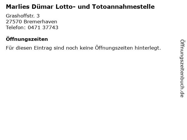Marlies Dümar Lotto- und Totoannahmestelle in Bremerhaven: Adresse und Öffnungszeiten