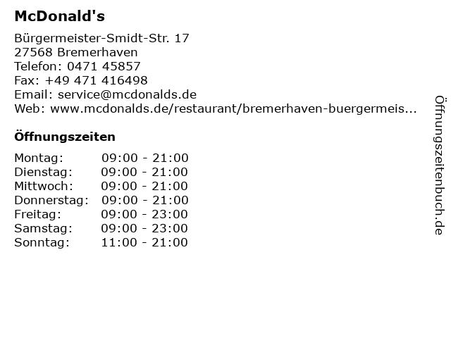 McDonald's in Bremerhaven: Adresse und Öffnungszeiten