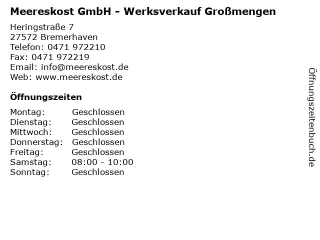 Meereskost GmbH - Werksverkauf Großmengen in Bremerhaven: Adresse und Öffnungszeiten