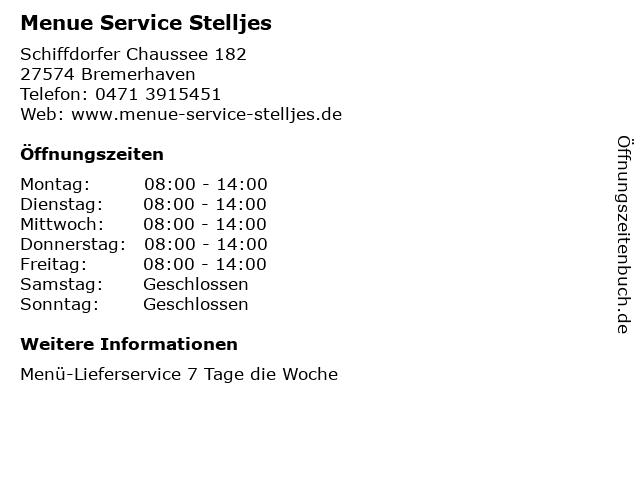 Menue Service Stelljes in Bremerhaven: Adresse und Öffnungszeiten