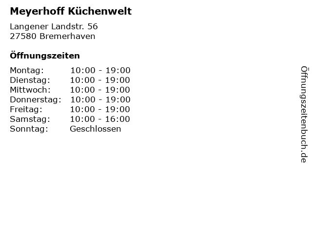 ᐅ Offnungszeiten Meyerhoff Kuchenwelt Langener Landstr 56 In