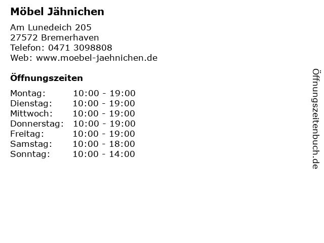 ᐅ öffnungszeiten Möbel Jähnichen Am Lunedeich 205 In Bremerhaven