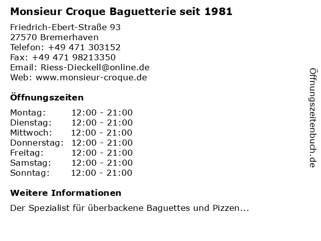 Monsieur Croque Baguetterie seit 1981 in Bremerhaven: Adresse und Öffnungszeiten