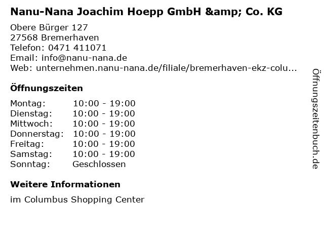 Nanu-Nana Joachim Hoepp GmbH & Co. KG in Bremerhaven: Adresse und Öffnungszeiten