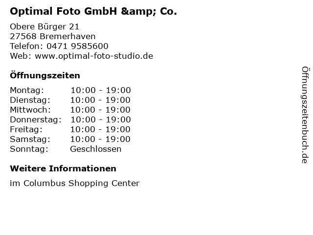 Optimal Foto GmbH & Co. in Bremerhaven: Adresse und Öffnungszeiten