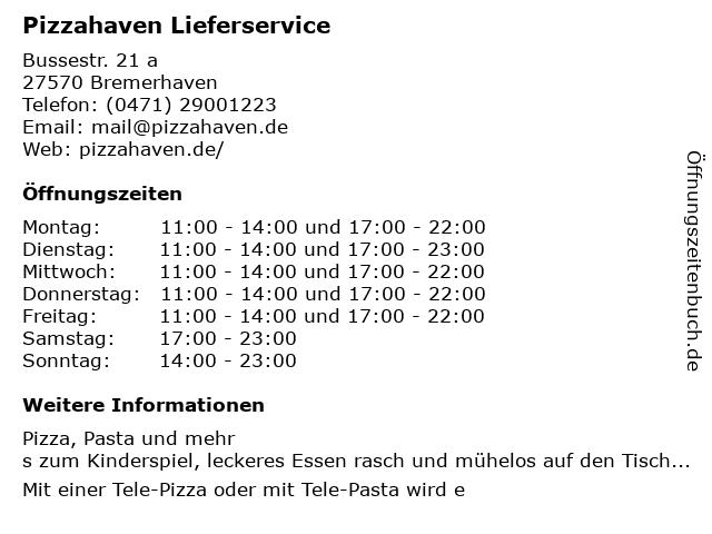 Pizzahaven Lieferservice in Bremerhaven: Adresse und Öffnungszeiten
