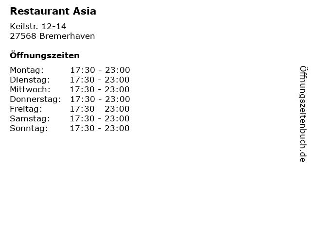 Restaurant Asia in Bremerhaven: Adresse und Öffnungszeiten