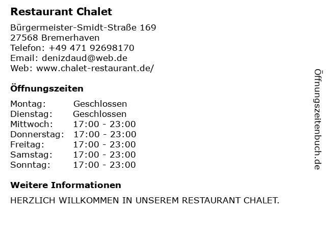 Restaurant Chalet in Bremerhaven: Adresse und Öffnungszeiten
