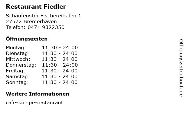 Restaurant Fiedler in Bremerhaven: Adresse und Öffnungszeiten