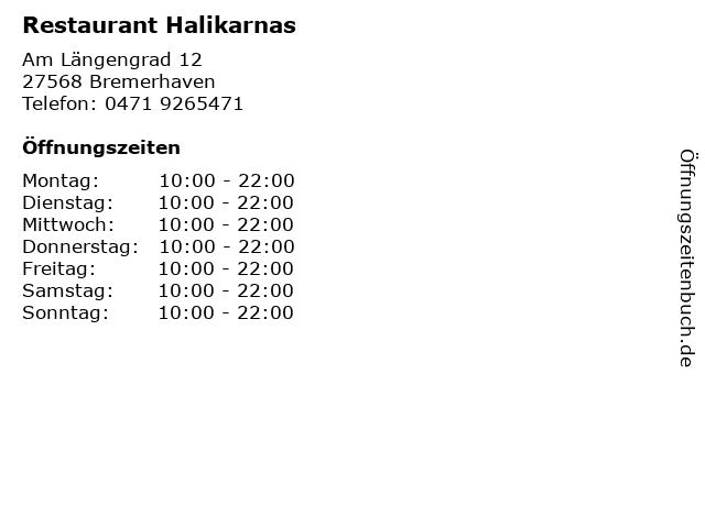 Restaurant Halikarnas in Bremerhaven: Adresse und Öffnungszeiten
