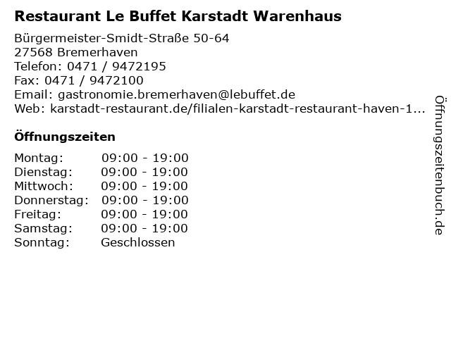 Restaurant Le Buffet Karstadt Warenhaus in Bremerhaven: Adresse und Öffnungszeiten