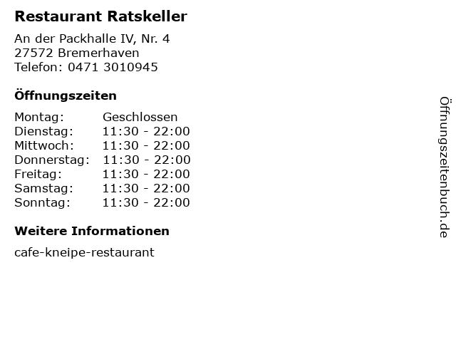 Restaurant Ratskeller in Bremerhaven: Adresse und Öffnungszeiten