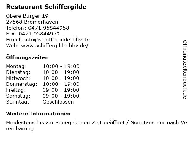 Restaurant Schiffergilde in Bremerhaven: Adresse und Öffnungszeiten