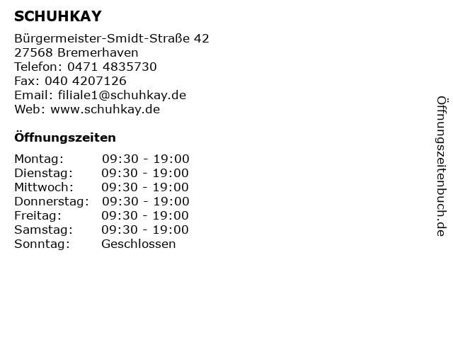 SCHUHKAY in Bremerhaven: Adresse und Öffnungszeiten
