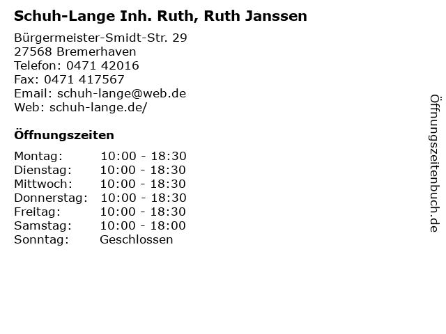 Schuh-Lange Inh. Ruth, Ruth Janssen in Bremerhaven: Adresse und Öffnungszeiten