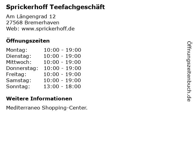 Sprickerhoff Teefachgeschäft in Bremerhaven: Adresse und Öffnungszeiten