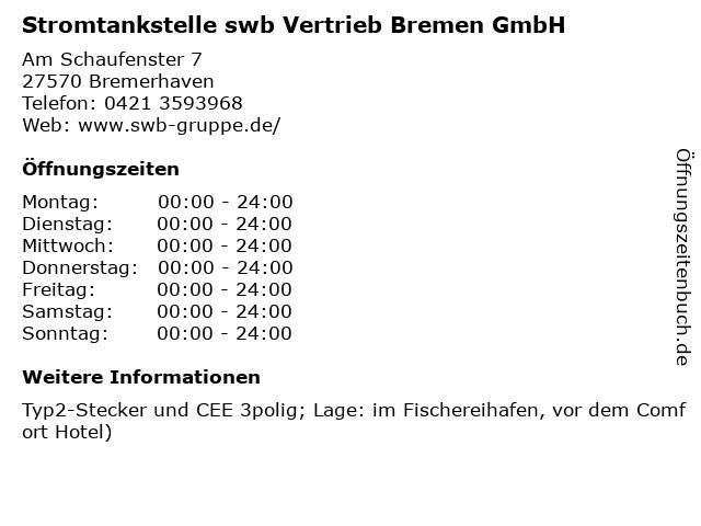 Stromtankstelle swb Vertrieb Bremen GmbH in Bremerhaven: Adresse und Öffnungszeiten