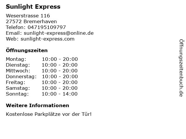 Sunlight Express in Bremerhaven: Adresse und Öffnungszeiten