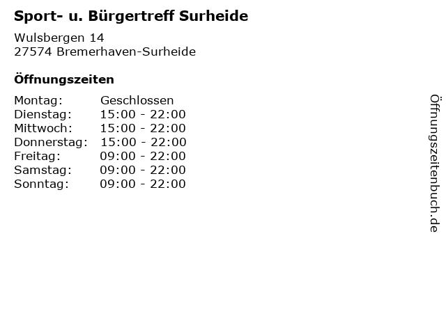 Sport- u. Bürgertreff Surheide in Bremerhaven-Surheide: Adresse und Öffnungszeiten
