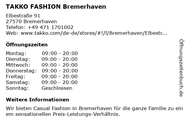 Takko Fashion in Bremerhaven: Adresse und Öffnungszeiten
