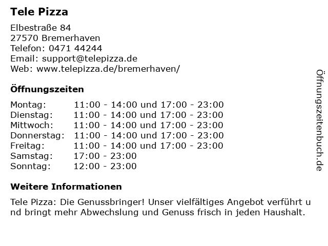 Tele Pizza in Bremerhaven: Adresse und Öffnungszeiten
