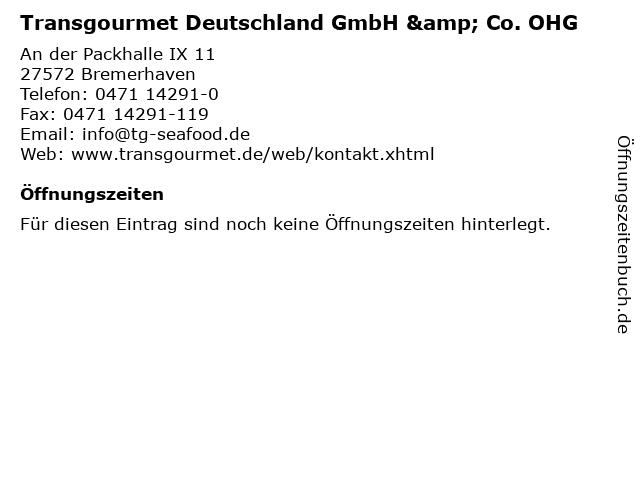 Transgourmet Deutschland GmbH & Co. OHG in Bremerhaven: Adresse und Öffnungszeiten