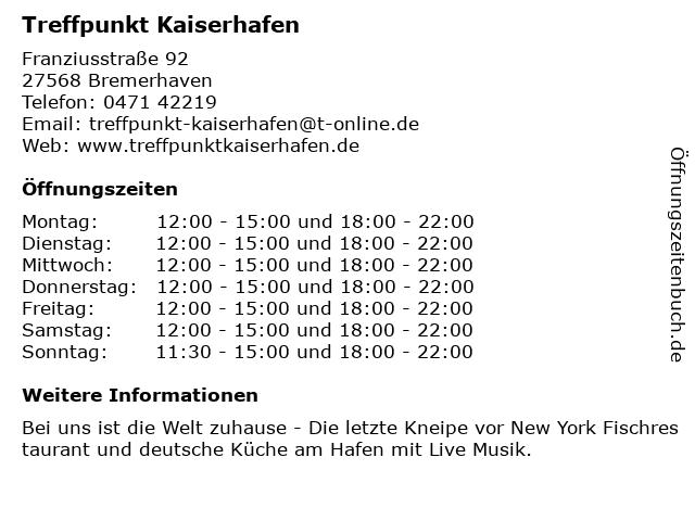 Treffpunkt Kaiserhafen in Bremerhaven: Adresse und Öffnungszeiten