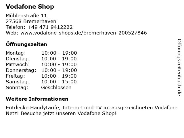 Vodafone Shop in Bremerhaven: Adresse und Öffnungszeiten