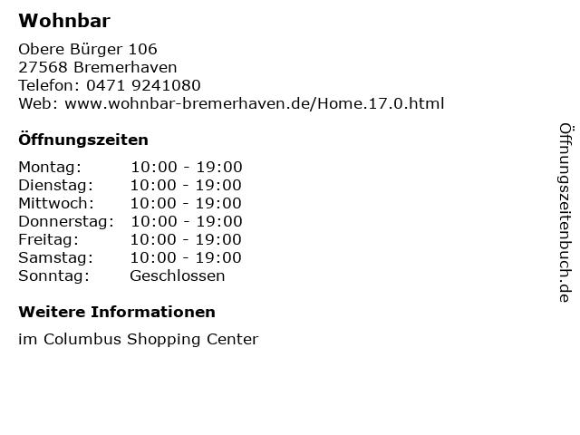 Wohnbar in Bremerhaven: Adresse und Öffnungszeiten