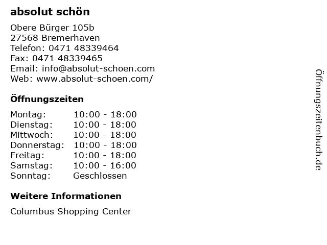 absolut schön in Bremerhaven: Adresse und Öffnungszeiten
