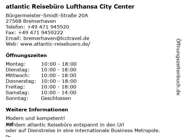 atlantic Reisebüro Lufthansa City Center Karl Geuther GmbH & Co. KG in Bremen: Adresse und Öffnungszeiten