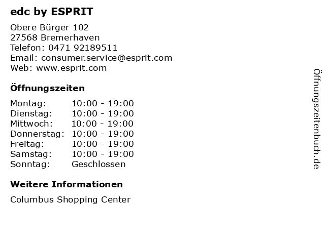 edc by ESPRIT in Bremerhaven: Adresse und Öffnungszeiten