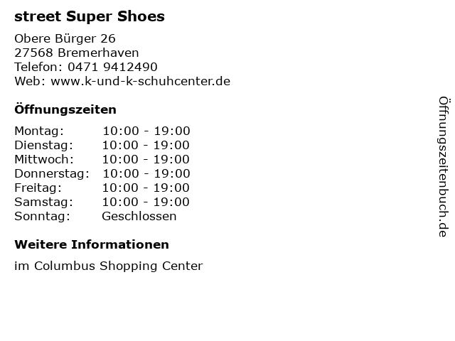 street Super Shoes in Bremerhaven: Adresse und Öffnungszeiten