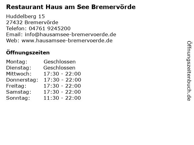 Á… Offnungszeiten Haus Am See Bremervorde Huddelberg 15 In Bremervorde