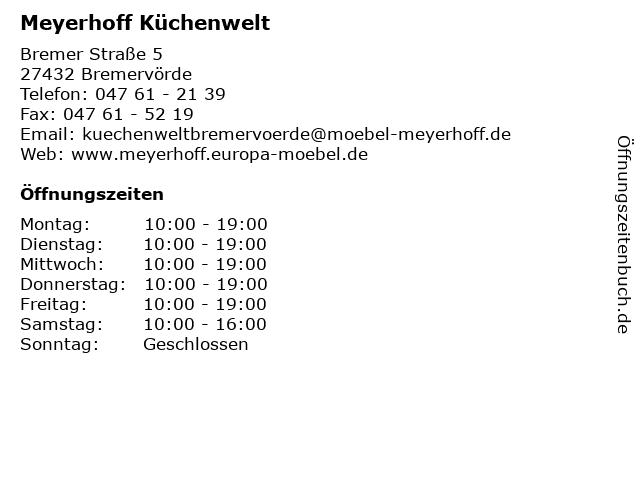 ᐅ Offnungszeiten Meyerhoff Kuchenwelt Bremer Strasse 5 In