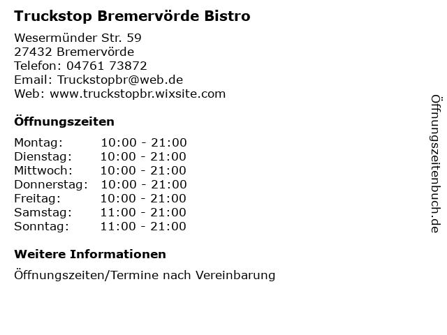 Truckstop Bremervörde Bistro in Bremervörde: Adresse und Öffnungszeiten