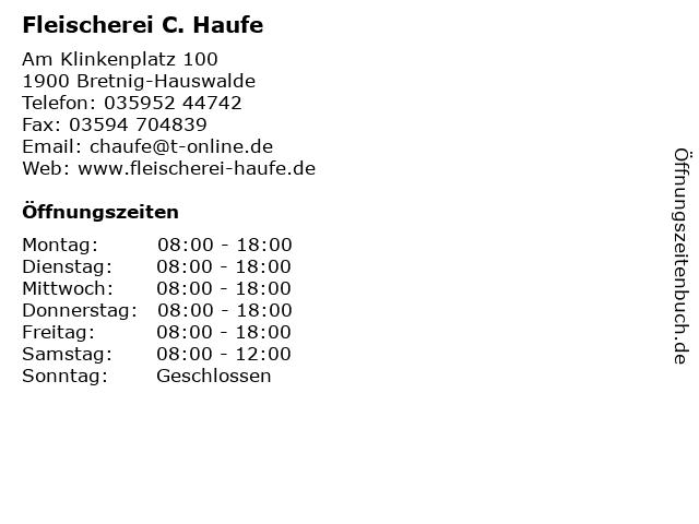 Fleischerei C. Haufe in Bretnig-Hauswalde: Adresse und Öffnungszeiten