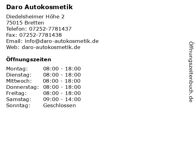 Daro Autokosmetik in Bretten: Adresse und Öffnungszeiten