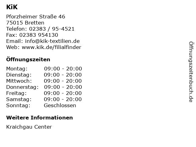 KiK Textilien & Non-Food GmbH in Bretten: Adresse und Öffnungszeiten