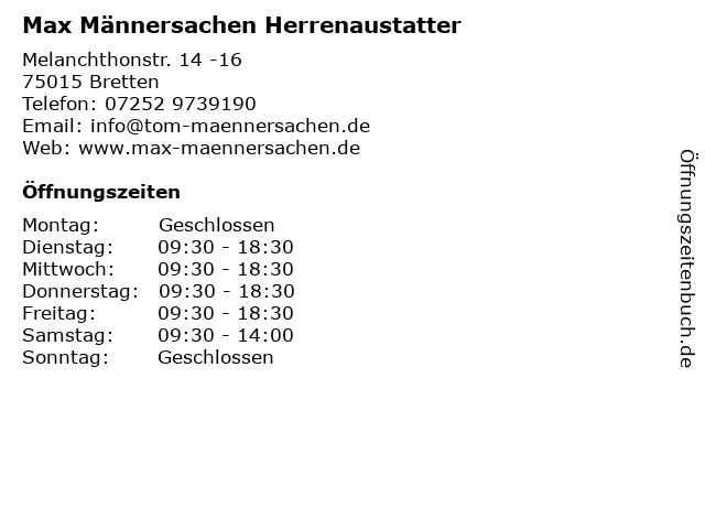 Max Männersachen Herrenaustatter in Bretten: Adresse und Öffnungszeiten