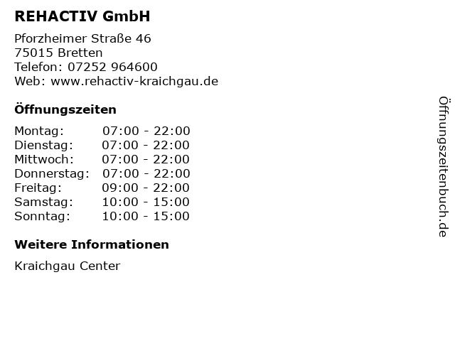 REHACTIV GmbH in Bretten: Adresse und Öffnungszeiten