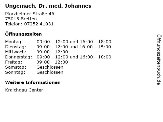 Ungemach, Dr. med. Johannes in Bretten: Adresse und Öffnungszeiten