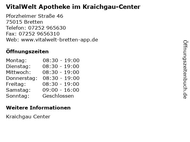 VitalWelt Apotheke im Kraichgau-Center in Bretten: Adresse und Öffnungszeiten